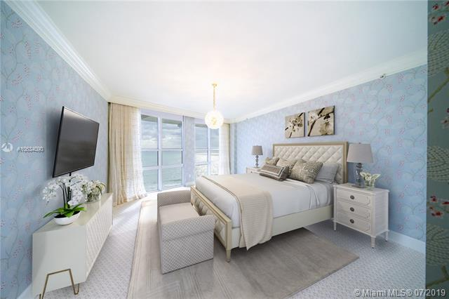 Photo of 10225 Collins Ave #901, Bal Harbour, Florida, 33154 - Digitally staged master suite.