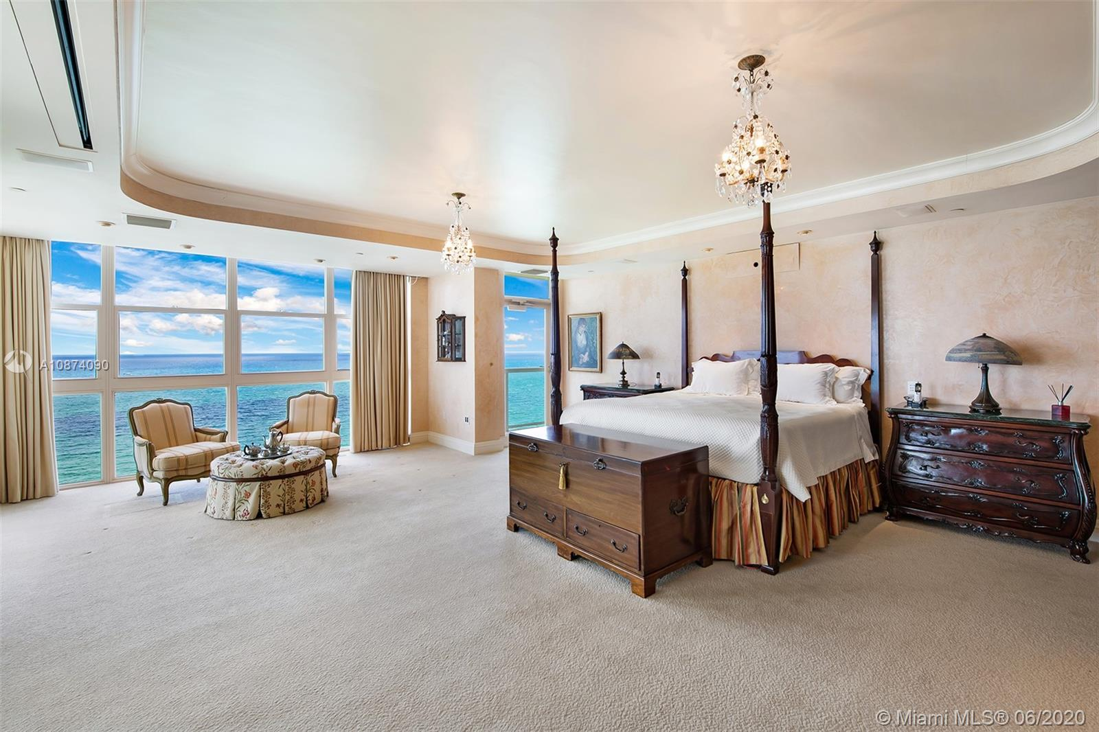 Photo of 6051 Ocean Dr #PH5, Hollywood, Florida, 33019 - Master bedroom suite
