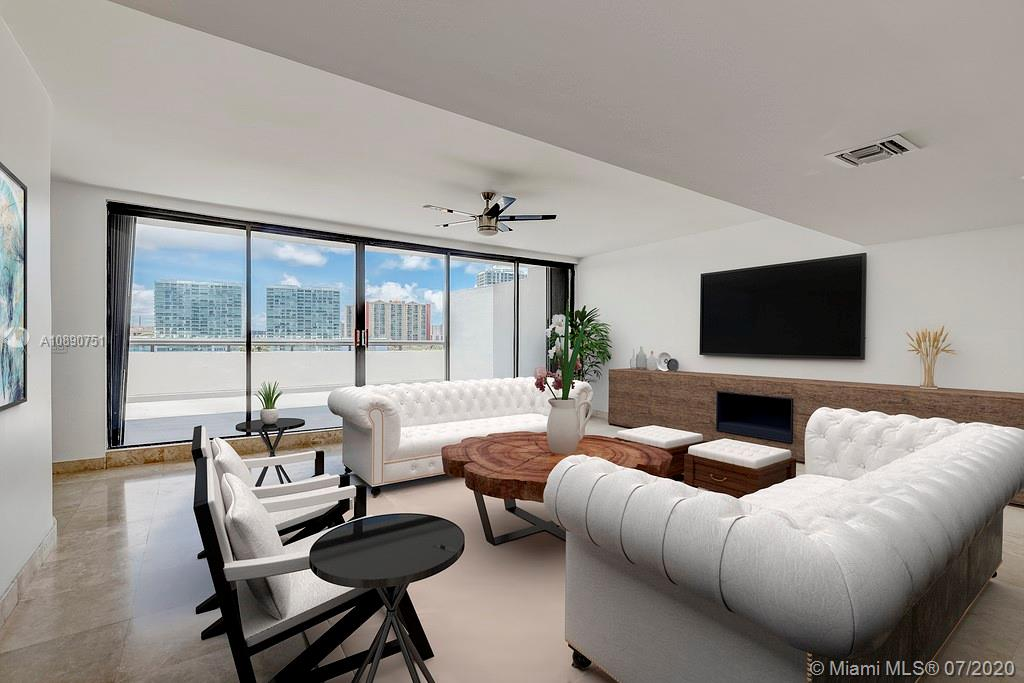 Photo of 425 Poinciana Island Drive #1444, Sunny Isles Beach, Florida, 33160 - Living room / dining room / bar feature / kitchen view
