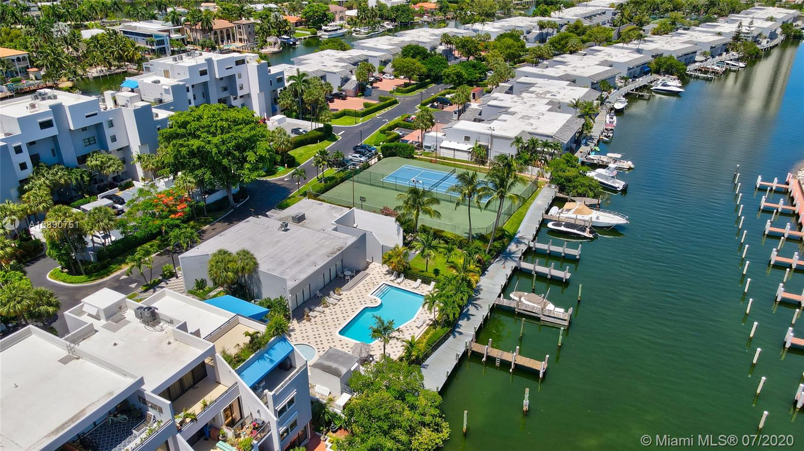 Photo of 425 Poinciana Island Drive #1444, Sunny Isles Beach, Florida, 33160 - Aerial canal view facing east