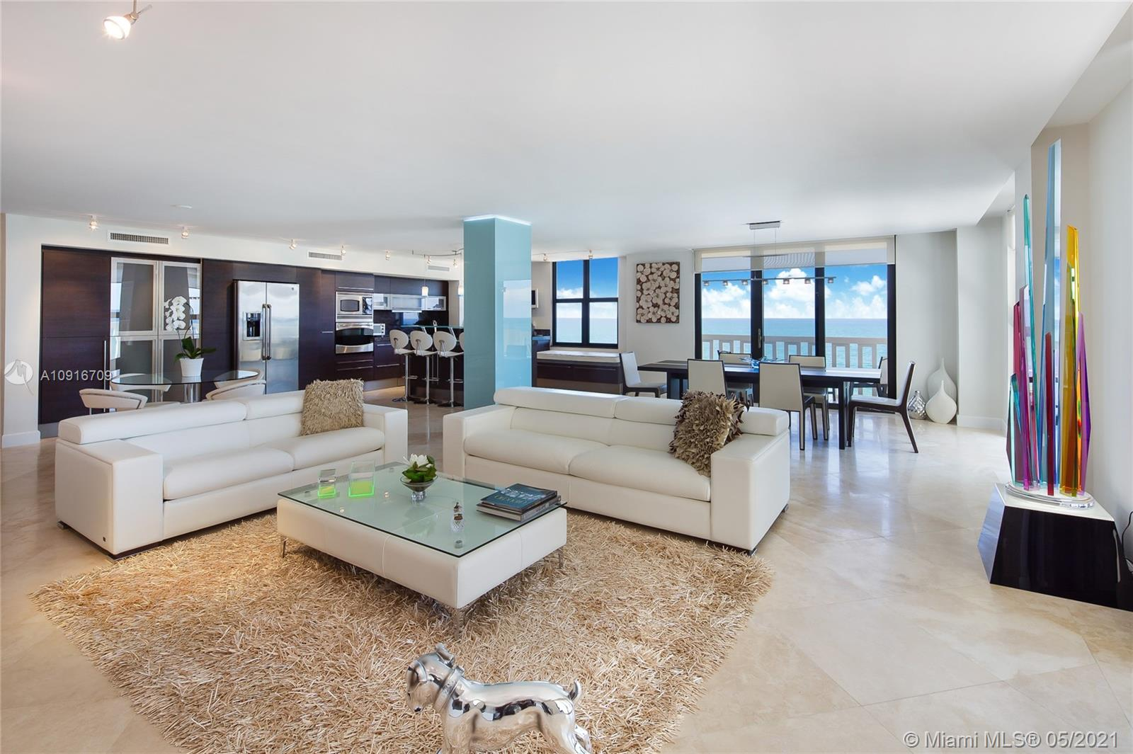Photo of 9801 Collins Ave #11B Direct Ocean, Bal Harbour, Florida, 33154 - Open floor plan, all the unit is looking Ocean views