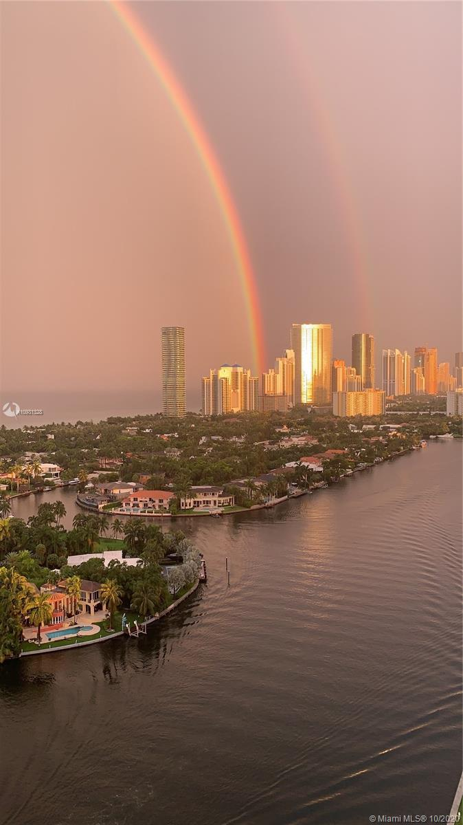 Photo of 20201 Country Club Dr #2407, Aventura, Florida, 33180 - Double rainbow, golden buildings. Rich views any time of the year.