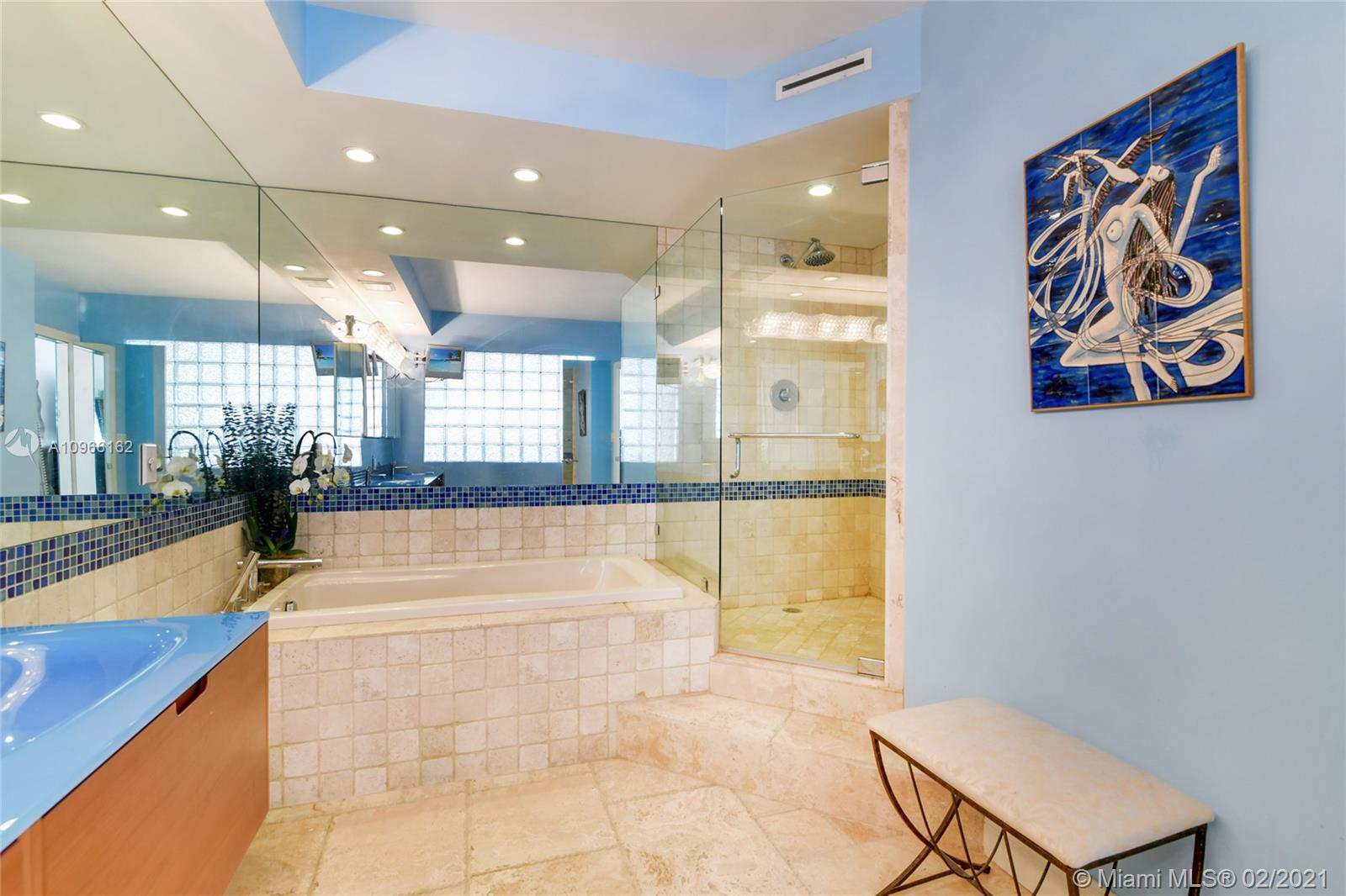 Photo of 9801 Collins Ave #4Z Direct Ocean, Bal Harbour, Florida, 33154 - Master Bathroom, 2 sinks, shower and bathtub separated