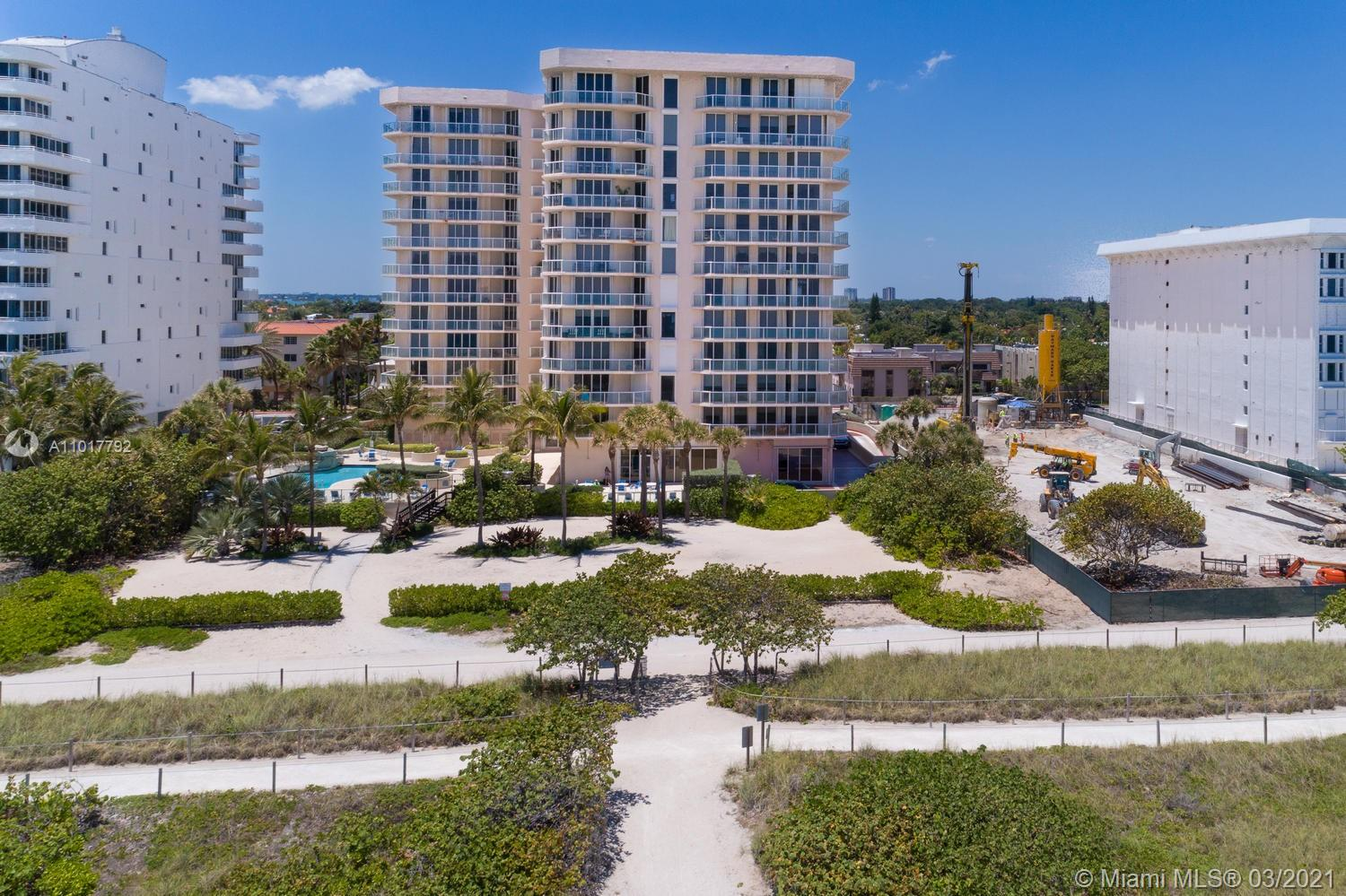 Photo of 8925 Collins Ave #2A, Surfside, Florida, 33154 - View from master bedroom to garden (being replanned) and ocean view.