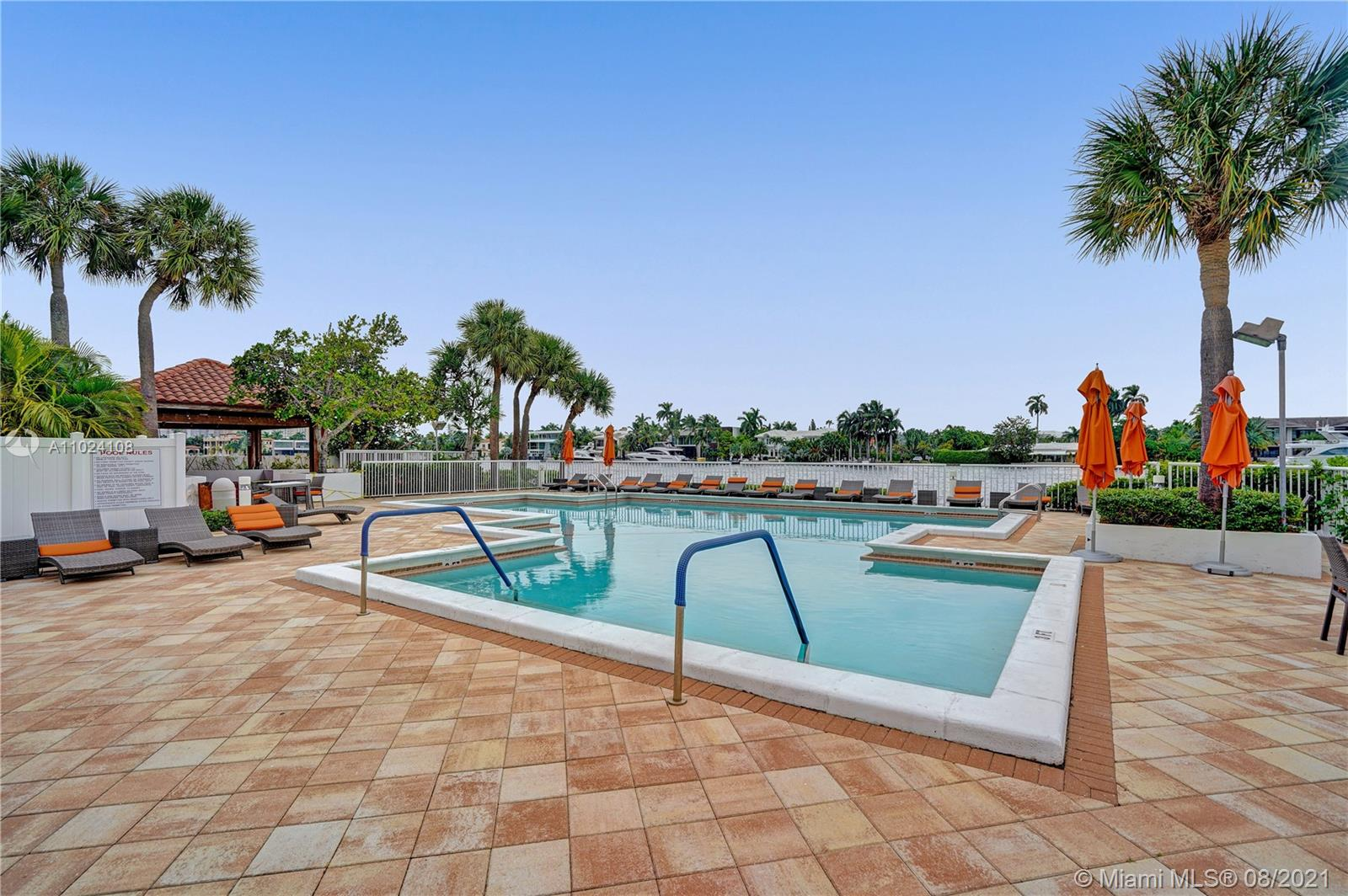 Photo of 20281 Country Club Dr #2407, Aventura, Florida, 33180 - View of the intracoastal pool and the restaurant.