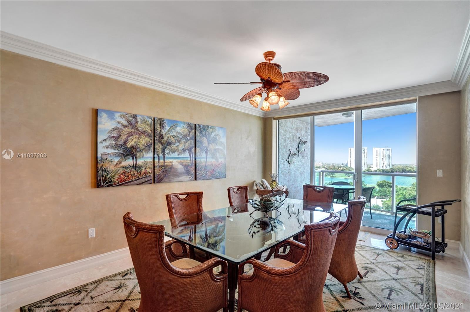Photo of 20201 Country Club Dr #1006, Aventura, Florida, 33180 - Kitchen and stools for breakfast.