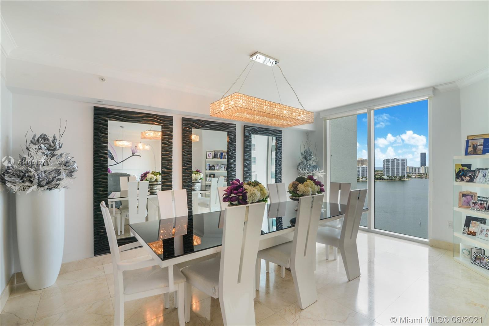 Photo of 3301 183rd St #1906, Aventura, Florida, 33160 - Large Open Floor plan (Living-room and dining-room looking all the Intercostal and the Ocean with the city Sunny Isles Beach)